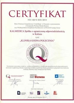 certyfikat kalmedica, klinika godna polecenia